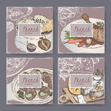 Set of four color French cuisine banner templates. Royalty Free Stock Photo