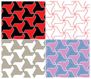 Set of Four Color Seamless Patterns. Triangle Elem Stock Photography