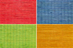 Set of four color straw background. Set of four color horizontal straw textured background stock photo
