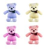 Set of four color TEDDY BEAR with scarf Stock Photos