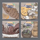 Set of four color vector Mediterranean cuisine banners. Royalty Free Stock Photos