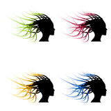 Set of  color woman head silhouette Stock Photos