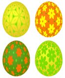Set of four colored Easter eggs with vivid floral pattern Royalty Free Stock Photography