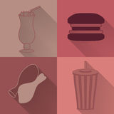 Set of four colored fast food icons Royalty Free Stock Photo