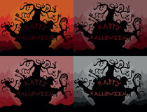 Set of four colored happy halloween landscape illustrations Royalty Free Stock Photography