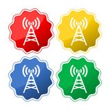 Set of four colored icons with antenna. Vector icon stock illustration