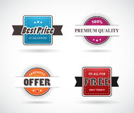 Set of four colored labels. Stock Photo