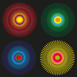Set of four colored of stylized sun Stock Photography