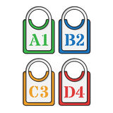 Set of four colored tags. Set of four green, blue, yellow and red tags Royalty Free Stock Photo