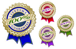 Set of Four Colorful 100% Lifetime Guarantee Emble. M Seals With Ribbons Stock Photography