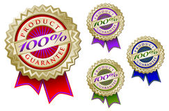 Set of Four Colorful 100% Product Guarantee Emblem. Seals With Ribbons Royalty Free Stock Photos