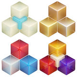 Set of four colorful abstract cube compositions. Set of four colorful glossy abstract cube compositions isolated on white Royalty Free Stock Images