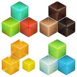 Set of four colorful abstract cube compositions Royalty Free Stock Image