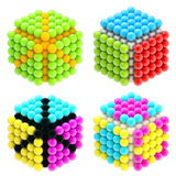 Set of four colorful abstract cubes isolated Stock Images