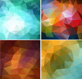 Set of four colorful abstract geometric background Stock Photography