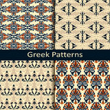 Set of four colorful ancient greek pattern designs Royalty Free Stock Image
