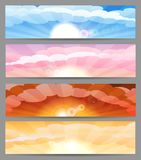 Sky with sun and clouds banner set Royalty Free Stock Image