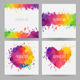 Set of four colorful banners. Square banners with stains and splatters, vector banners with paint stains and spills vector illustration