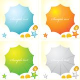 A set of four colorful beach parasols and seashells. royalty free illustration