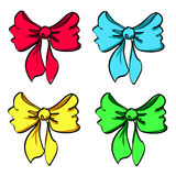 Set of four colorful bows Royalty Free Stock Photos