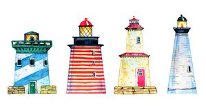 Set of four colorful cartoon lighthouses. Hand drawn watercolor illustration vector illustration