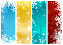 Set of four colorful Christmas background banners. With snowflakes - vertical version Royalty Free Stock Photography