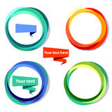 Set of four colorful circle frames with white copy space. Text frames set. Elements for design. Vector illustration Stock Photography