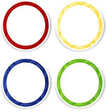 Set of four colorful circle frames with white copyspace. Vector empty frames with white place for text. Red, blue, yellow and green frames with shadow. Can be Stock Image