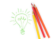 Set of four colorful crayons drawing light bulb, Stock Images