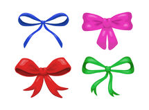 Set of four colorful  decorative cartoon bows isolated on Royalty Free Stock Image