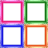 Set of four colorful decorative clear photo frames Royalty Free Stock Image