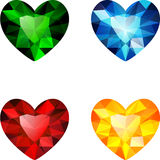 The set of four colorful diamond hearts. Colorful jewels. Vector design. Objects are isolated on white Stock Illustration
