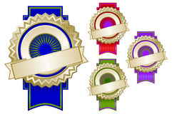 Set of Four Colorful Emblem Seals with Ribbons Stock Photo