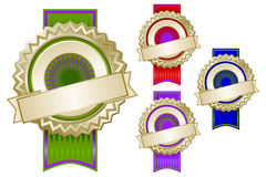 Set of Four Colorful Emblem Seals with Ribbons stock illustration