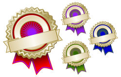 Set of Four Colorful Emblem Seals with Ribbons Stock Photos