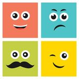 Set of four colorful emoticons with emoji faces stock illustration