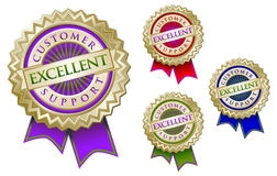 Set of Four Colorful Excellent Customer Support Em. Blem Seals With Ribbons royalty free illustration
