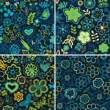 Set of four colorful floral patterns.Copy square to the side and Royalty Free Stock Photography