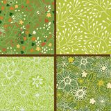 Set of four colorful floral patterns. Stock Photos
