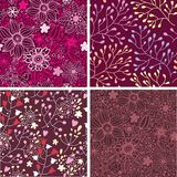 Set of four colorful floral patterns. Stock Image