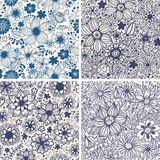 Set of four colorful floral patterns. Royalty Free Stock Photography