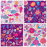 Set of four colorful floral vector pattern.Copy each square to t Royalty Free Stock Image