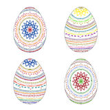 Set of four Colorful Hand-painted Easter eggs with Ethnic patter Royalty Free Stock Photo