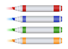 Set of four colorful  markers or highlighters leaving mark Stock Photo
