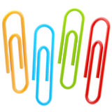 Set of four colorful paper clips isolated. Set of four colorful glossy paper clips isolated on white stock illustration