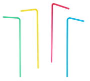 Set four colorful plastic bent drinking straws isolated on white Royalty Free Stock Image