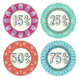 Set of four colorful sale icons Stock Images