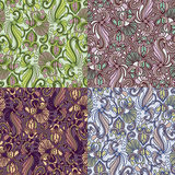 Set of four colorful seamless patterns. EPS-8. Stock Photos