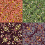 Set of four colorful seamless patterns. EPS-8. Royalty Free Stock Image
