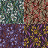 Set of four colorful seamless patterns. EPS-8. Royalty Free Stock Photos